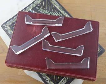 Vintage Set of 5 Crystal Knife Rests, Chopstick Rests