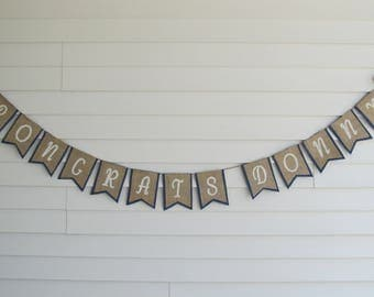 Rustic Burlap CONGRATS to the Grad Banner - Graduation Party Decor Shown in Navy Blue and White