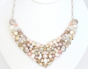 Blush Bib Necklace, Crystal Bib Necklace, Wedding Necklace, Champagne Bridal Bib, Bridal Necklace,Statement Necklace,Crystal Bridal Necklace