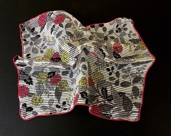 Unusual and Very Pretty Vintage Handkerchief in Grey, Cherry Red and Yellow