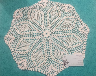 Vintage 16 inch White hand crochet doily for sewing, housewares, handbags, pillows, home decor by MarlenesAttic