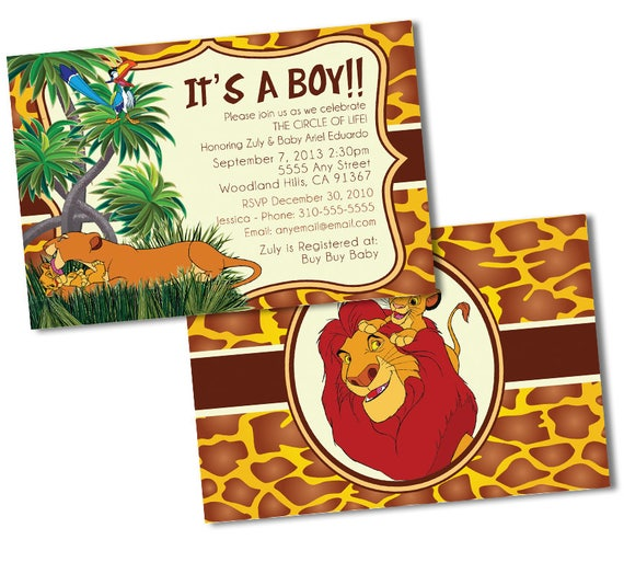 Lion king baby shower invitations custom baby shower invitations by il570xn filmwisefo