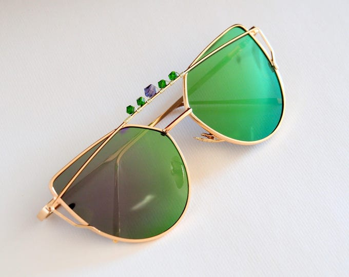 Green sunglasses ~ Crystal decorated