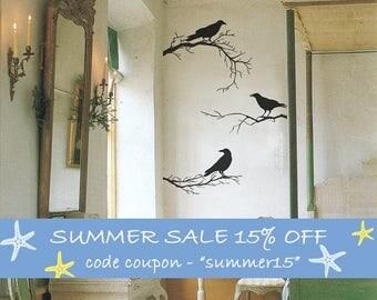Vinyl Wall Decal, Branches, Crow Decor, Black Wall Decals, 3 Branches, 3 Crows, Home Decor, Black Crows Birds, Halloween Decor - ID703 [p]