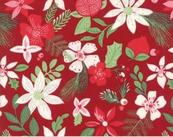 Merry Merry Christmas Spruce Ribbon Red 27272 13 by Kate Spain from Moda- 1 yard