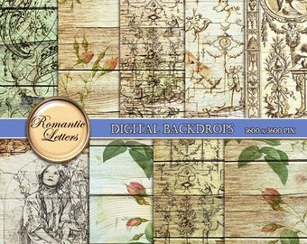 Sale 60% Rose digital paper pack digital scrapbook wedding background paper Shabby chic digital scrapbook wood texture printable decoupage p