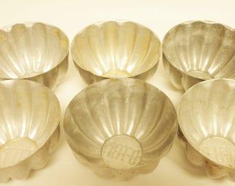 Vintage Jello Molds Set of Six, Small Aluminum Jello Molds, Food Molds, Kitchen Decor, Primitive Country Decor