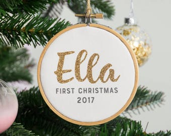 Baby's First Christmas Bauble - Personalised Christmas Tree Decoration - Personalised First Christmas Bauble - Custom First Christmas Bauble