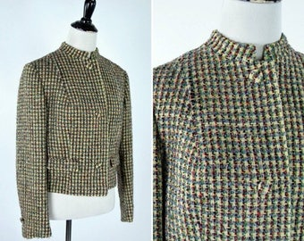 SUMMER SALE Vintage 1980's Cropped Tweed Blazer - Long Sleeve Wool Blazer Jacket - Ladies size small to medium