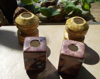 4 large macrame ceramic bead..excellent condition!