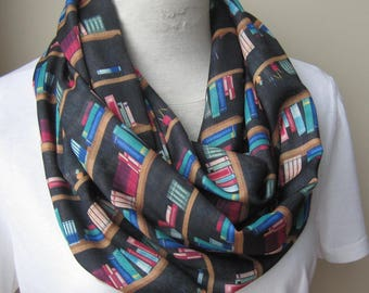 Bookshelf Scarf Infinity Library Scarf-Long Book Scarf, Book Lover Gift, Librarian Scarf Geek Literary Gift for Woman -Men's bookshelf scarf