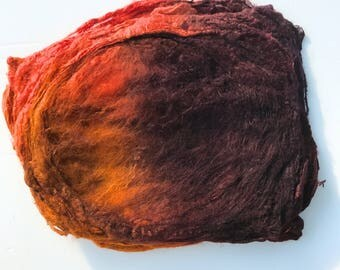 Hand Dyed Silk Fiber Mawata Silk Hankies for Felting, Spinning, Knitting. BROWN, ORANGE and GOLD.