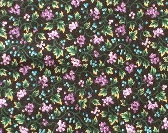 Cotton Fabric / Purple Floral Cotton Fabric / Black Floral Fabric / Cranston Print Works / VIP Print Works / Floral Cotton Fabric