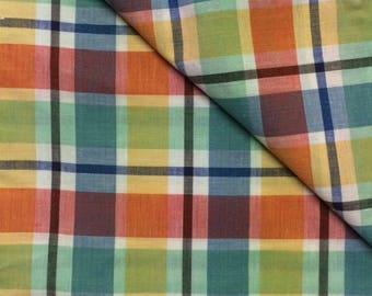 Cotton Fabric / Pink Plaid Fabric / Plaid Cotton Fabric / Vintage Plaid Fabric / Pink and Blue Plaid / Plaid Fabric / Quilting Fabric