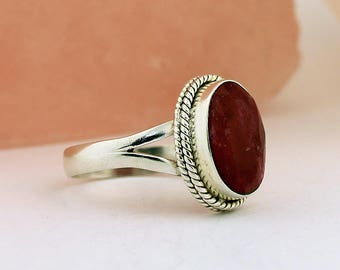 Red Ruby Ring // 925 Sterling Silver // Ring Size 8.5 Handmade Jewelry