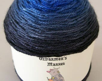 Cachemire Soie: 4ply Fingering Weight Wool, Silk, Cashmere blend gradient dyed knitting yarn.  Colourway -Blue Shadow. 100gm