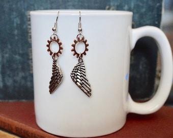 Steampunk Jewelry, Shadowhunters Jewelry, Shadowhunters Earrings, Angel Wings Earrings, Angel Wings, Steampunk Earrings, Mortal Instruments