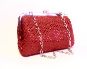 Red Metallic Sequins Evening Clutch/Purse, 8x5x2.5, 20 Inches Chain Handle
