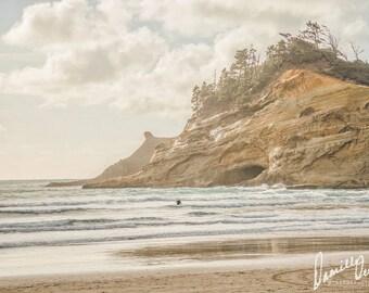 Beach Photography   Oregon Coast   Vintage Style   Pastel Colors   Oregon Beaches   Cape Kiwanda   Ocean Print   Oregon Beach Print