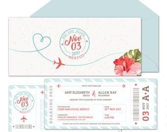 Destination Wedding Invitation Suite {Boarding Pass to 'I Do' - Aqua/Coral}