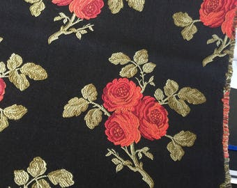 Designer upholstery brocade - 2 yards - roses on matte black