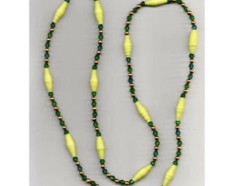 Necklace #16 - One-of-a-kind Handmade Lemon Yellow Paper Bead Necklace with Dark green bi-cone beads and little round gold beads