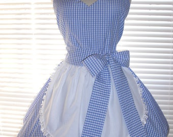 Retro Costume Apron French Maid Apron Blue and White Gingham Full Circular Skirt - Ready to Ship