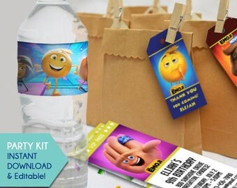 Emoji Party Favors, Emoji Movie Thank You Tags, Emoji Movie Water Bottle Labels, Emoji Movie Party Favors, Invitation, Birthday Tags