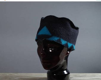 ON SALE Leather and Wool Hat - Native American Inspired Hat - Southwest Wool Hats - OOAK