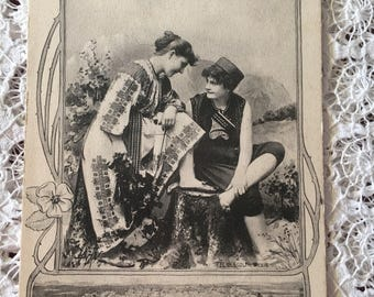 Antique French Postcard - Couple from 1903 - Collectors Item - Wall Decor