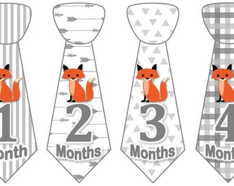 Baby Monthly Milestone Growth Stickers Uncut Boy Ties Baby Grey Fox Tribal MS957 Nursery Theme Baby Boy Fox Shower Gift Baby Photo Prop