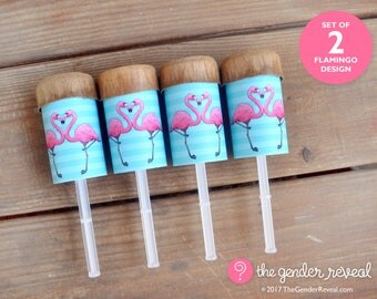 Flamingo Confetti Push-Pops for Gender Reveal Parties - Set of 2