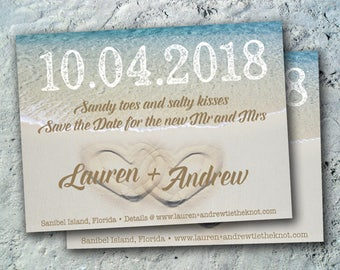 Beach Save the Date Wedding Reception Elopement Invitations Card Postcard Vintage Postcard We Do Rustic Country Tropical Destination