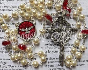 Cream Swarovski crystal pearl & Ruby Rondelle fire polished glass rosary with red enamel Holy Spirit center and silver plated crucifix