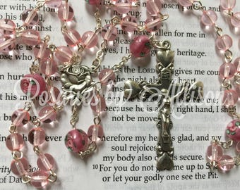 Pink Czech glass bead and Dark Pink Rose Czech lampwork bead rosary with silver plated Rose center and crucifix