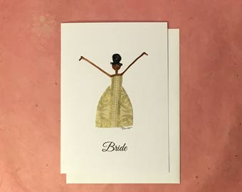Handmade Card with African-American Bride with Hair Bun and Non-traditional Gold Wedding Dress
