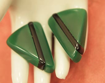 """Vintage Lucite Earrings - Pierced - Chunky Emerald Green Lucite & Black Inlay - 1980's Pierced Post Back Earrings - 1  1/8"""" x 7/8"""""""