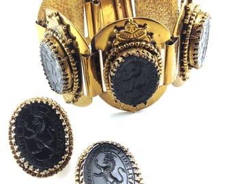 Glass Intaglio Bracelet Earrings Set Lions Rampant Motto Virtute Et Fidelitate Carved Jet Black Glass Renaissance Revival Collector Jewelry
