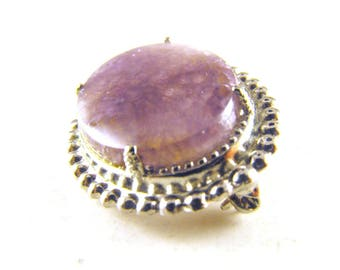 Amethyst Brooch Sterling Silver Mount Minimalist Design Maximum Result Lovely Pin Great Gift Idea Mom Gifts Rock Hound Gift