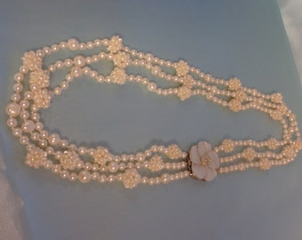 Exquisite, White, Natural Freshwater Cultured Pearl Necklace