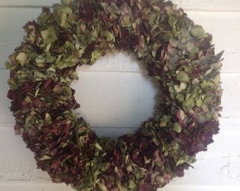 Old Fashioned Natural Dried Hydrangea Wreath, Dried Flower Wreath, Burgundy Wreath, Centerpiece