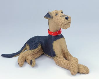Custom Sculpture Airedale or Welsh Terrier Ceramic Sculpture, pet portrait of your Airedale or Welsh Terrier