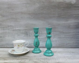 Upcycled Painted Candlesticks