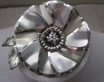 Large Silver Flower Brooch, Vintage