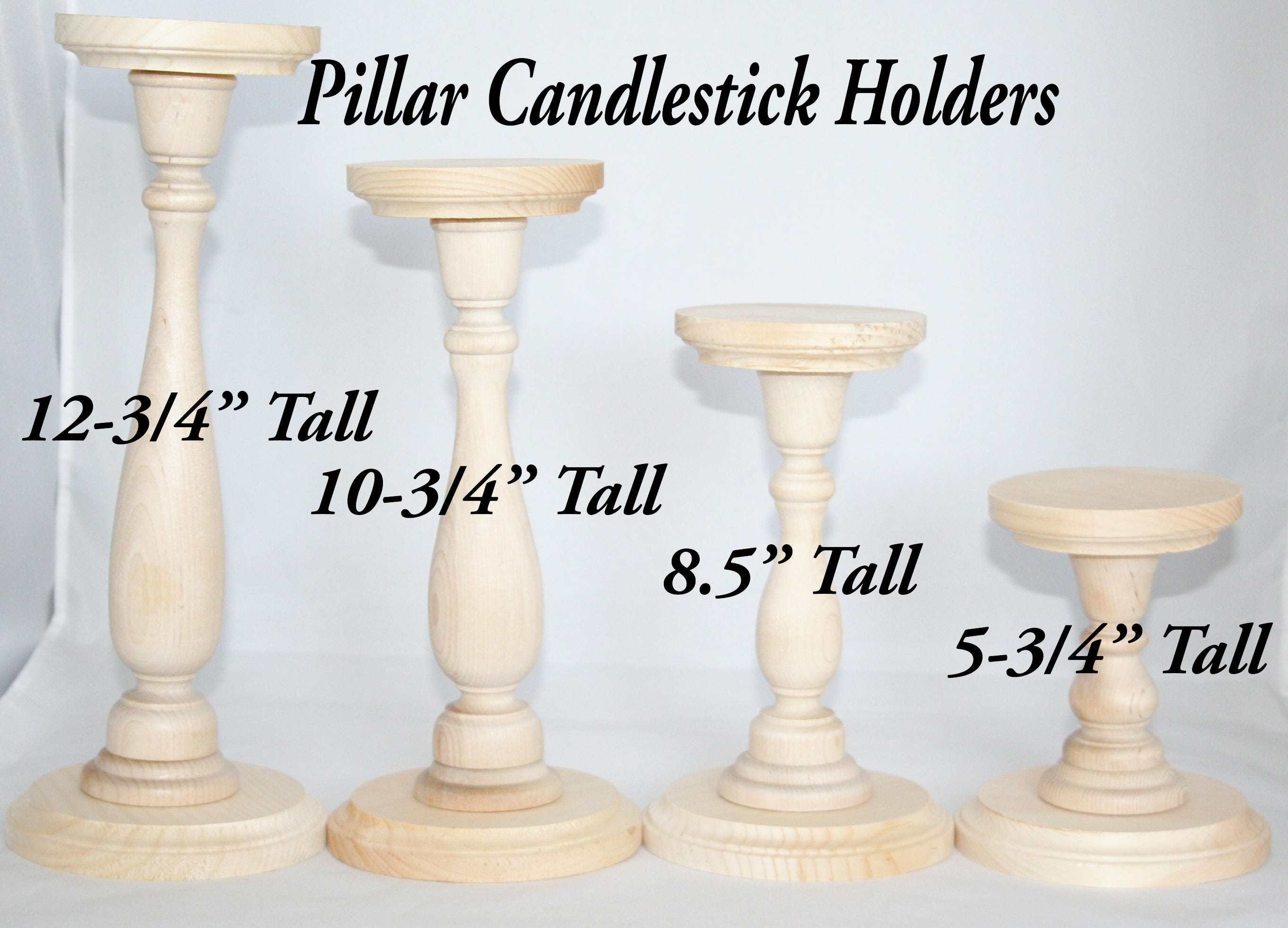 Unfinished wood pillar candlestick holders diy wedding for Diy wooden pillar candle holders