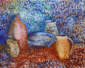 vintage still life oil painting jugs and dish in a Pointillism manner