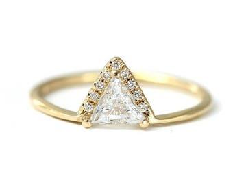 ON SALE Triangle Diamond Ring - Trillion Diamond Engagement Ring - 0.3 Carat Trillion Diamond - 18k Gold