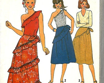 Simplicity 8578 Misses Boho One Shoulder Top And Ruffled Skirt Pattern, Size 14