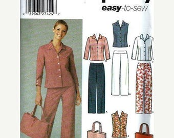 ON SALE Easy Simplicity 5204 Misses Pants, Cropped Pants, Skirt, Shirt & Bag Pattern, Size 6-12  And 14-22, UNCUT