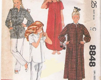 McCall's 8848 Brooke Shields, Girls Robe With Belt, Nightgown And Pajamas Pattern,Transfer Included,  Size 8,  UNCUT